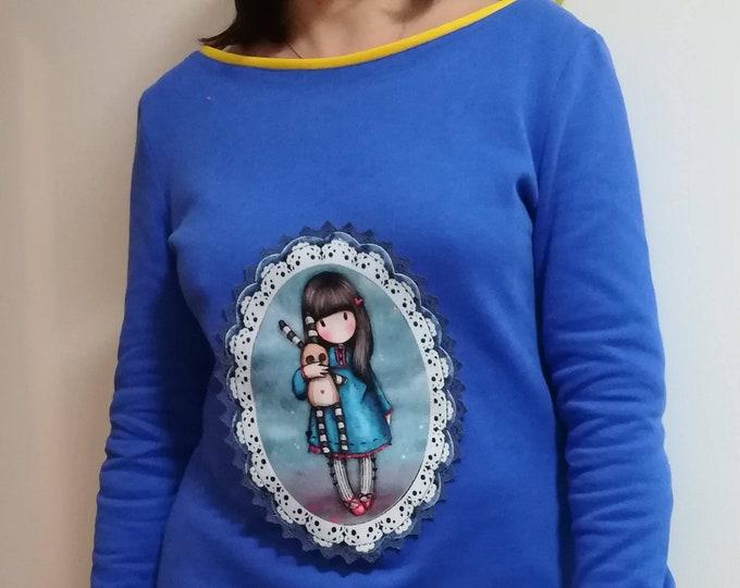 Womens Clothing, cotton tunic, blouse, personalized blouse, back neckline blouse, handmade clothes, Gorjuss
