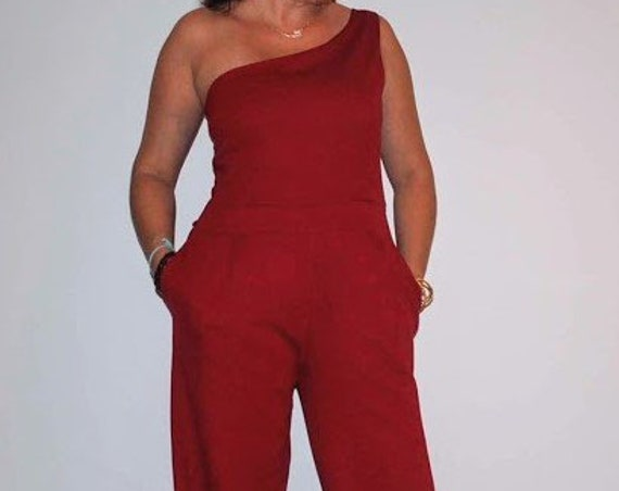 Red jumpsuit, jumpsuit, strech jumpsuit, Overalls, Women's Clothing, Jumpsuits & Rompers, Confortable Romper, Handmade jumpsuit, Wedding