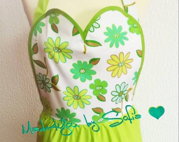 Apron, floral Apron, Vintage Apron, Linda in the kitchen, for cooking, aprons, cooking with love, apron, Made4You, gifts for her