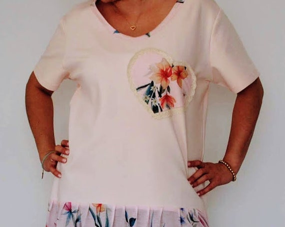 Tunic, Women's Clothing, Handmade Clothes, Tops & Tees, lady's blouse, blouses, Floral tunic, Blouse