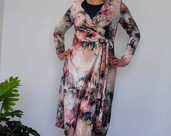 Velvet dress with feather print pattern, dress, Women dress, Autumm dress, Bohemian dress, Handmade dress, velvet dress