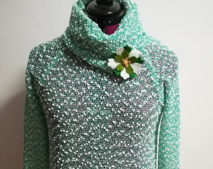 Knitted blouse with collar, green blouse, winter clothes, Women's Clothing, Blouses, Handmade clothes