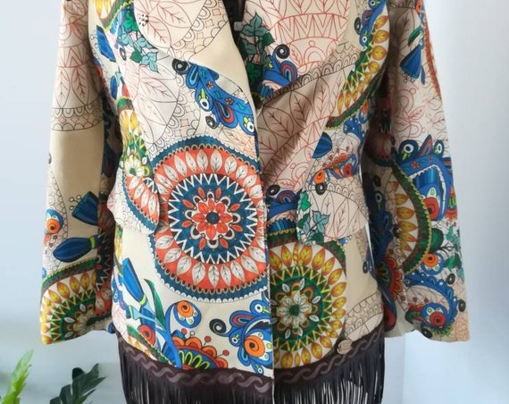 Lady's coat with fringes, Bohemian style, Women's Clothing, Handmade Clothes, Coats, Boho coat, Made in Portugal