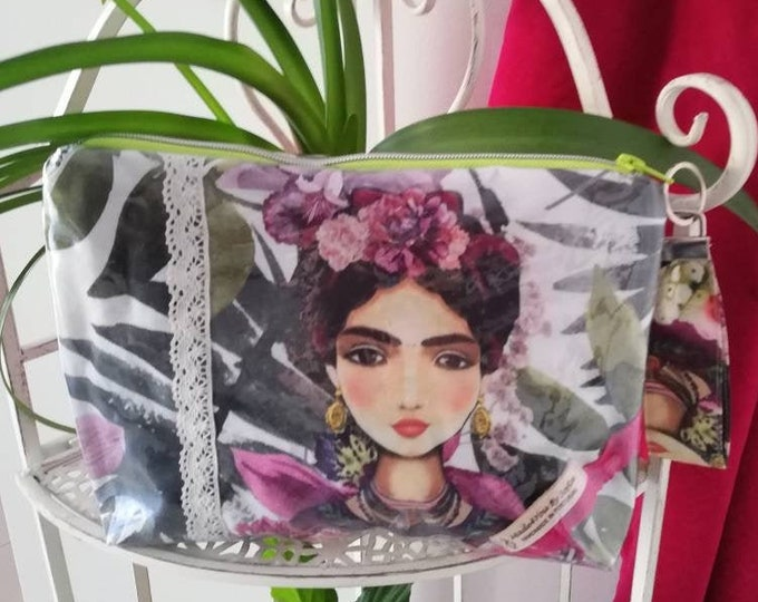 Waterproof handbag Frida Kahlo, Necessaire, multipurpose bag, beach bag, hand bag, fanny pack