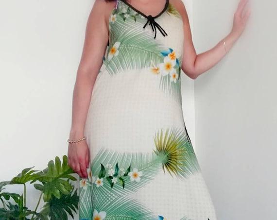 Tropical pattern summer dress, Long dress, party dress, beach dress, Womens clothing, Wedding dress