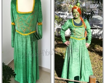 Fiona Fantasy, green velvet dress, Carnival dress, velvet dress, Costumes