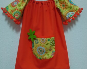 Orange dress, Children dress, orange dress, Girl dress, Cotton dress, clothing, Girls clothing, Dresses