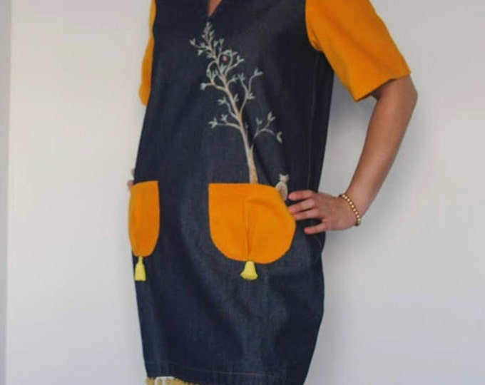 Bird dress, dress bird, dresses, Denim dress, Womens clothing, dress, Hand painted, clothing, Vintage