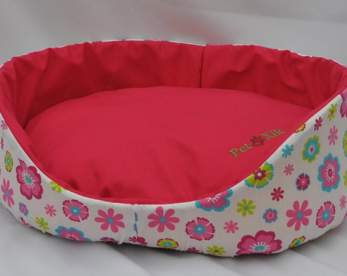 Pet bed, Xik pink Floral pet bed, pet furniture