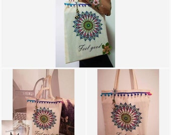 Hand-painted cloth bag, cloth bag, eco-friendly bag, Handbags, beach bag, crafts, Women's Bags, Fabric bag, eco bag