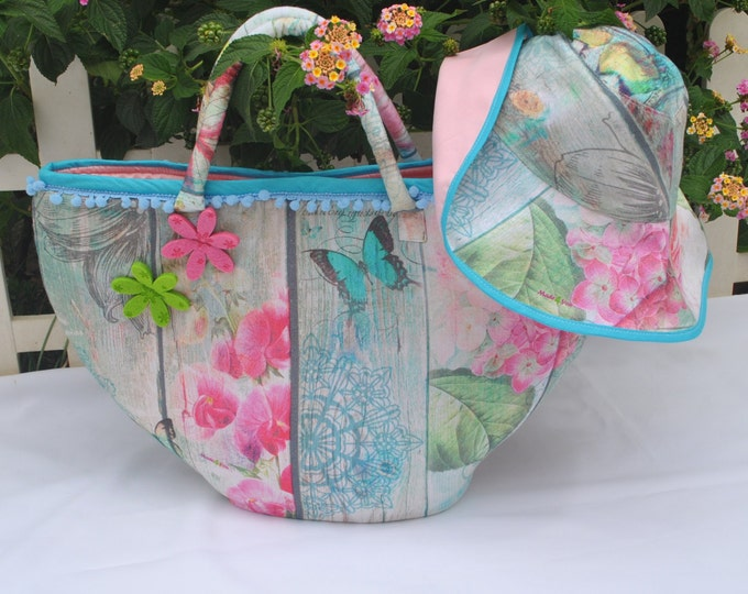 Summer bag, Fabric carrycot, Lovers bag, beach set, Carrycot and hat set, handicraft, Gifts for her, beach bag