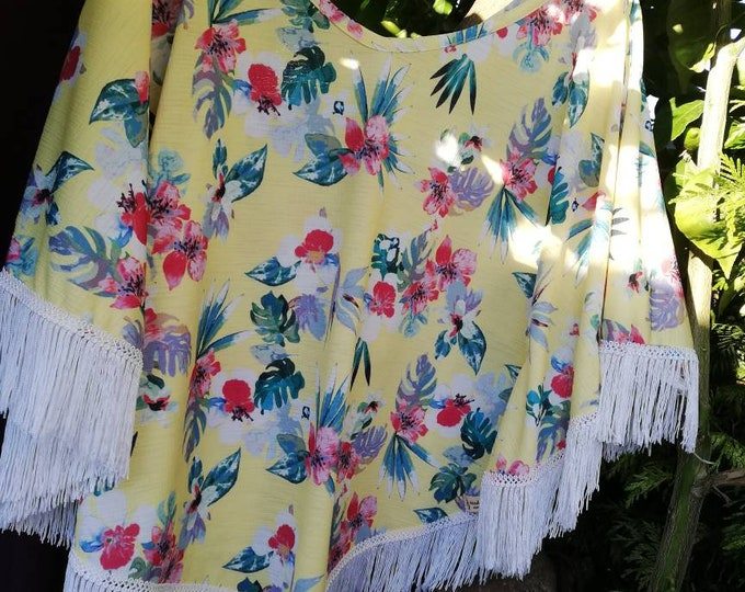 Tropical pattern Summer Poncho, Summer Clothes, ponchos, Summer Blouses