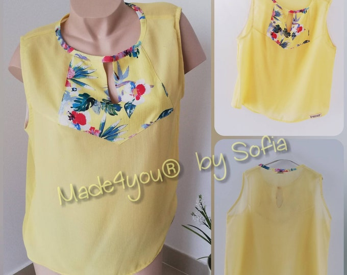 Yellow crepe blouse, Womens clothing, Blouses
