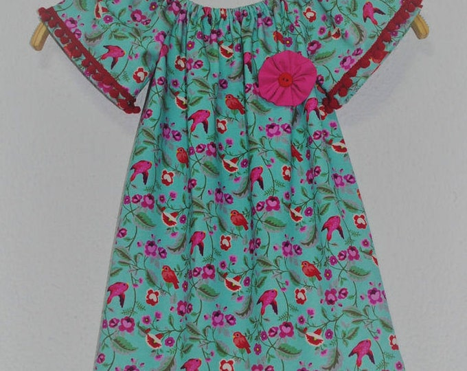 Girl dress, Clothing, Handmade dress, child dress, Bird dress, Cotton child dress