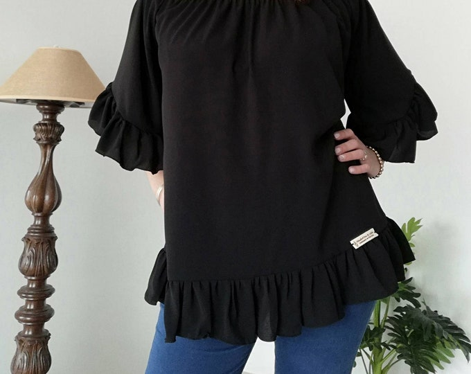 Black Tunic, Womens clothing, Blouses, Summer Clothes, Plus Size