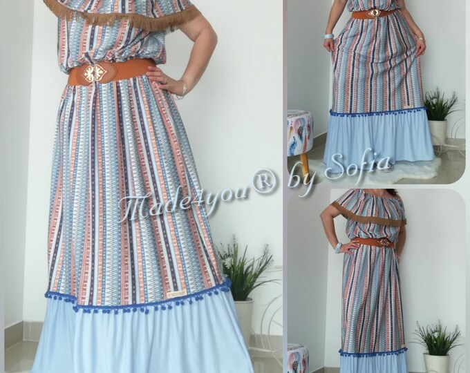 Bohemian style long dress, Summer Dress, Dresses, Women Fashion Dress, Women Dress, Bohemian Style, Women's Clothing, Handmade Dress