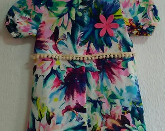 Girls dress, Handmade dress, Tropical girl dress, child, Cotton child dress, girl clothing, Twin