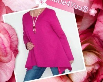 Fushia Color carded cotton tunic, Autumn clothes, Women's Clothing, Handmade clothes, Blouses, tunics, boho Style, blouse with necklace