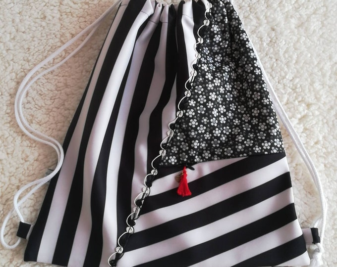 Striped fabric bag, ties bag, bags, woven backpack, bag, shoulder bag, backpack, multipurpose bag, cloth bag, beach bag