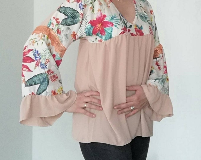 Floral and Salmon tunic, Blouses, Tops & Tees, tunics, Women's Clothing, blouses