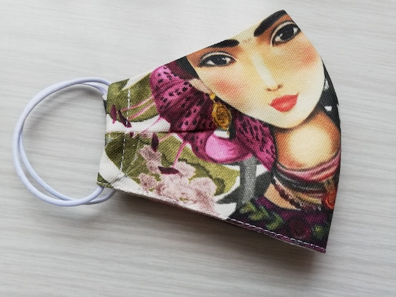 frida mask, fabric face mask, washable mask