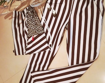 Striped trousers, pants, trousers, Women's clothing, Handmade clothes, cowboy style pants, Country, Pantaloon, trousers