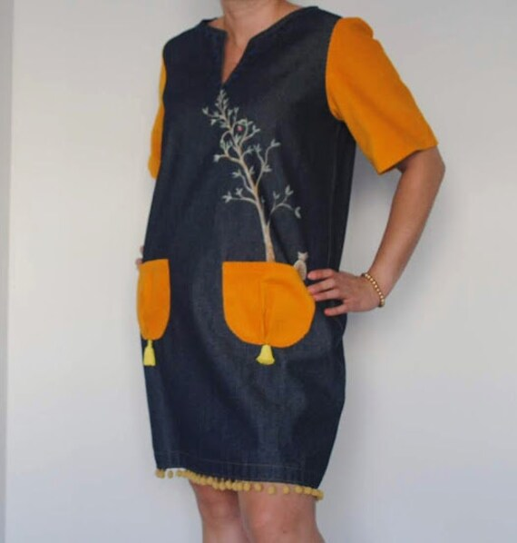 Birdie dress, dress bird, dresses, Denim dress, Womens clothing, dress, Hand painted, clothing, Vintage