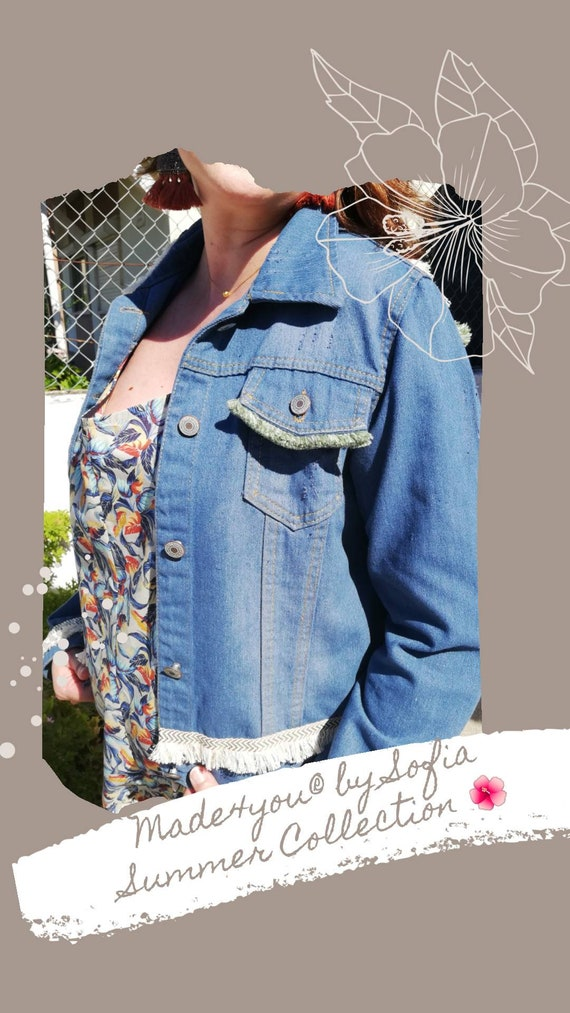 Custom Denim windbreaker, Women Jacket, Denim, Western Clothes, Bomber Jacket, Boho style, Bohemian clothes