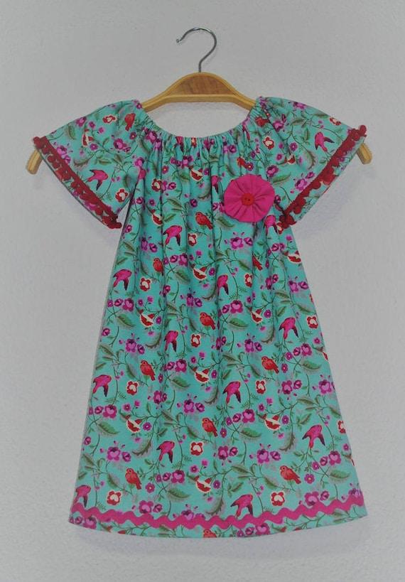Girl dress, Clothing, Handmade dress, child dress, Bird dress, Cotton child dress