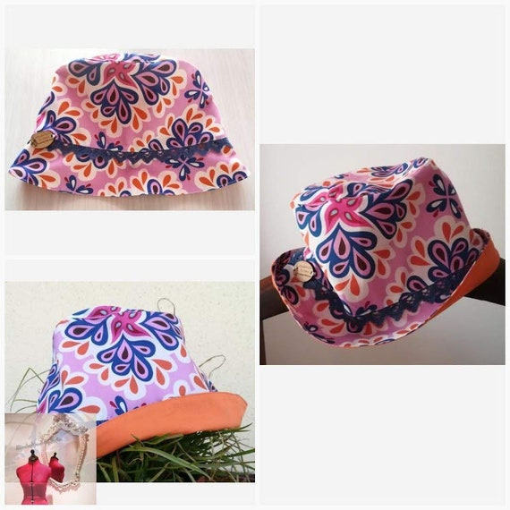 Hats, child's Flowers Hat, children's Panama, toddler Hat, Boaters & Panama, Patchwork, Handmade, Cotton Hats, Sun Protection, Baby Hat, Summer
