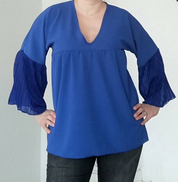 Royal Blue tunic, womens clothing, plus size, blouses
