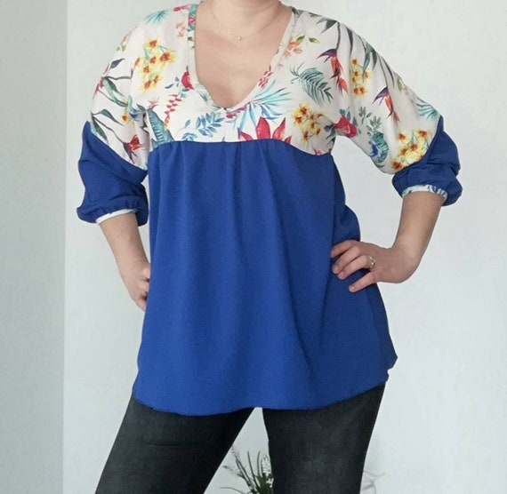 Floral and Blue Tunic, Blouses, Tops & Tees, tunics, Women's Clothing, blouses