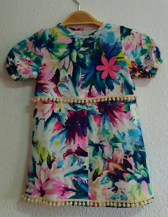 Girls Dress, Handmade Dress, Tropical girl dress, Child, Cotton child dress, Girl Clothing, Twin