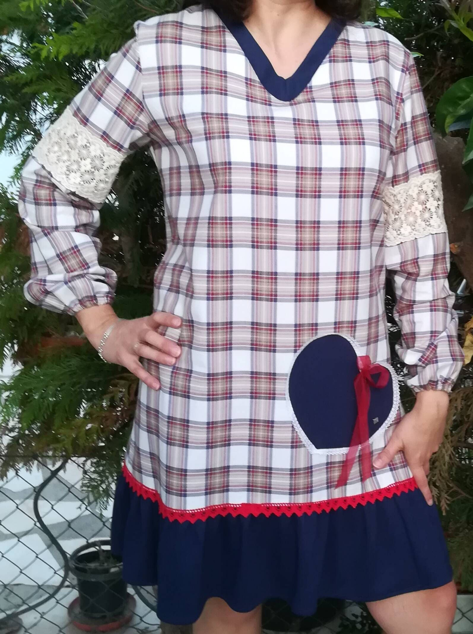 Lovely dress, plaid gown, women\'s dress, new collection, Handmade ...