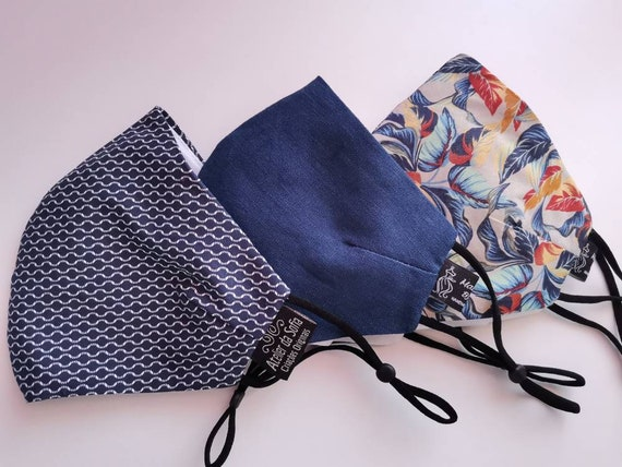 Pack 3 Shades Blue Linen, Washable mask, Reusable face mask, Cotton mask, Travel mask, Anti Dust mask, Stoffmaske, Set of Masks, Masks