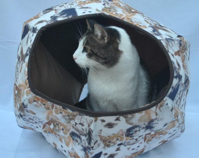 Cat Cave, Cavern for cat-tissue kittens, pet supplies, cat bed, pet furniture, pet house, Handmade, Cat Ball. Cat Cave Kittens