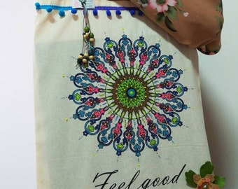 Hand painted cloth bag, cloth bag, Eco-friendly bag, handbags, beach bag, crafts, Women's Bags, Fabric bag