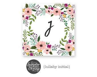Floral Watercolor Monogram Print » Initial or Name Print » Monogram Art » Floral Wreath » Nursery Monogram Print » Personalized Printable
