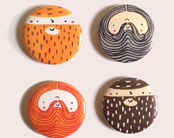 Beardy Boys - Badge Set