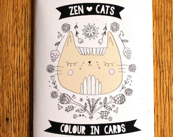 Zen Cats Colour In Cards