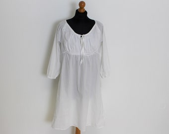 a53e158bb40 White Cotton Dress LINE OF OSLO Boho Hippie White Peasant dress White  Sweatheart Dress Folk Style Summer Dress White Nightgown Large Size