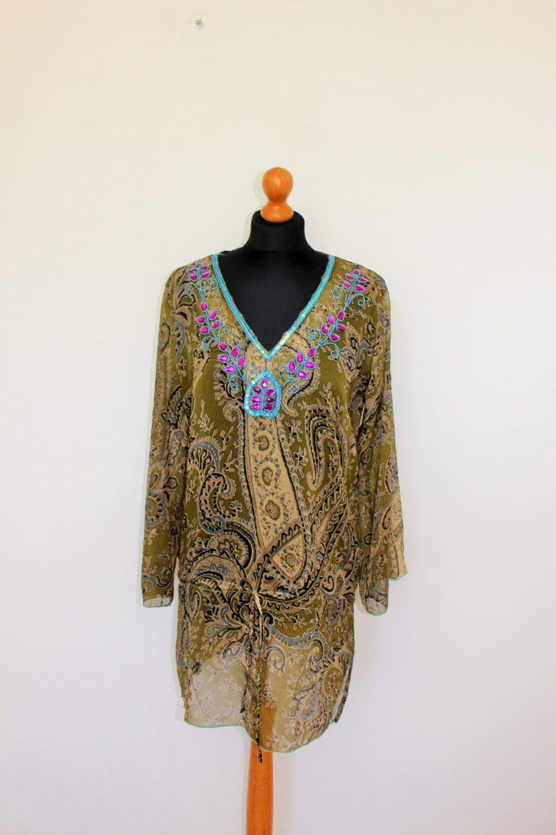10ecb2fb765 Embroidered Tunic Khaki Turquise Tunic Dress Ornamental | Etsy