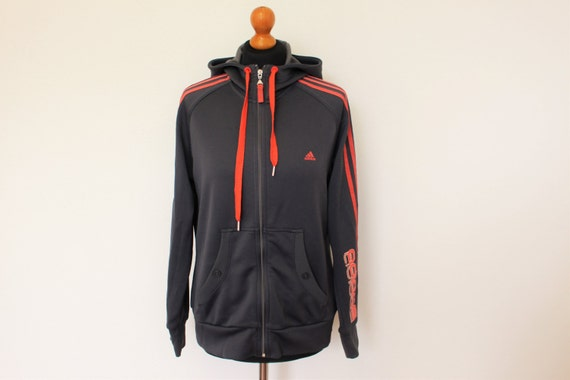 ADIDAS Jacket Gray Red Trefoil Jacket Training Jogging Sports Adidas 3 Stripes Jacket Hooded Trainer Track Jacket Hipster Medium to Large
