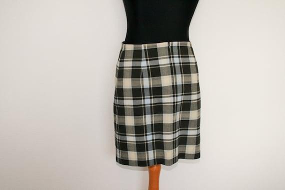 Plaid Skirt Tartan Black White Gray Skirts Street One Checkered Mini Pencil Skirt Medium Size