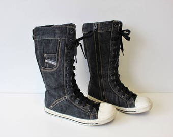 Diesel Boots Lace up Denim Boots Tall lace up Textile Boots Boxing Boots Trainers Wrestling Sneakers Box Deadstock  EUR 39  UK 6,5 US 8,5
