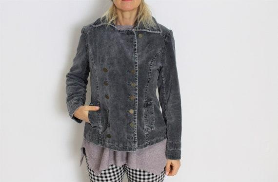 Grey Military Blazer Gray Velvet Jacket  Womens Gr