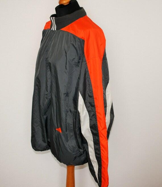 ADIDAS Windbreaker 3 Streifen grau Adidas Training Pullover Jogging Sport Grau Orange leichte Jacke Größe XL Adidas Trainer groß