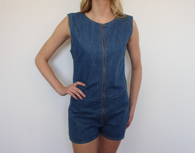 Ladies Denim Playsuit Vintage 90/'s Jean Romper Overalls Fitted Jean Ziped Playsuit Jumpsuit Sleeveless Playsuit  Medium Size