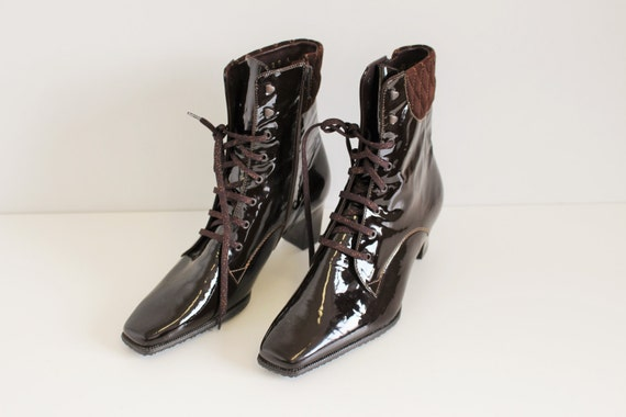 07eb8dc3c96 Granny Boots Brown Burgundy Lace-up SIOUX Patent Leather boot Victorian  Ankle Boots Shiny Granny Booties EUR 37.5 / Uk 4.5 / US 7,5