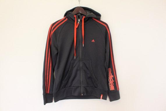 ADIDAS Jacke Grau Rot Klee Jacke Ausbildung Joggen Sport Adidas 3 Streifen Jacke mit Kapuze Trainer Track Jacke Hipster mittelgroß bis groß
